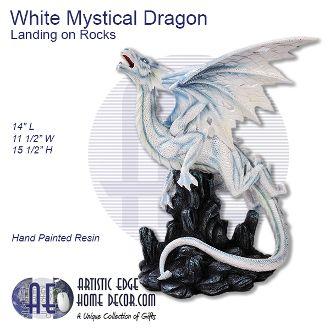 White Mystical Dragon Landing on Rocks