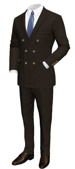 Brown double breasted suit in merino wool: Slim fit Peak lapel Black lining Double welt pockets Pleated pants  http://www.tailor4less.com/en/collections/custom-suit/premium-suits-collection/brown-double-breasted-suit-in-merino-wool