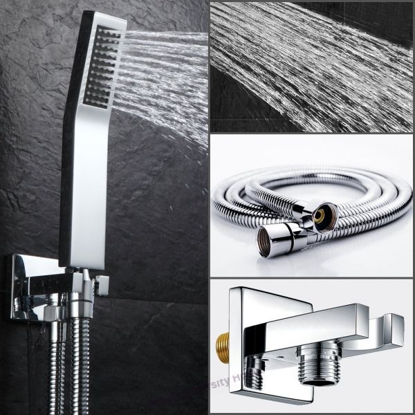 Ceiling Mount Bathroom Luxury Rain Mixer Shower Combo Set Ceiling