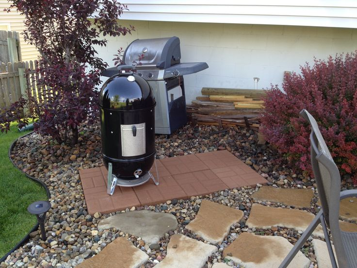New Paver Grill Platform With New Weber Smoky Mountain