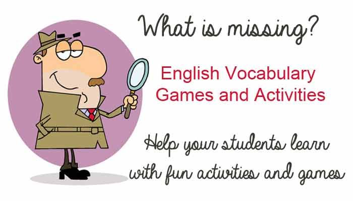 """""""What's Missing?"""" - English Vocabulary Game - Help Your Students Learn With Fun Games"""