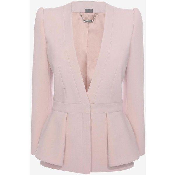 Alexander McQueen Folded Peplum Jacket ($1,075) ❤ liked on Polyvore featuring outerwear, jackets, blazers, coats, casacos, patchouli, pink blazer, pink blazer jacket, peplum blazer and alexander mcqueen