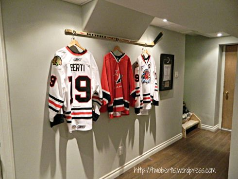 Hang jerseys from a stick
