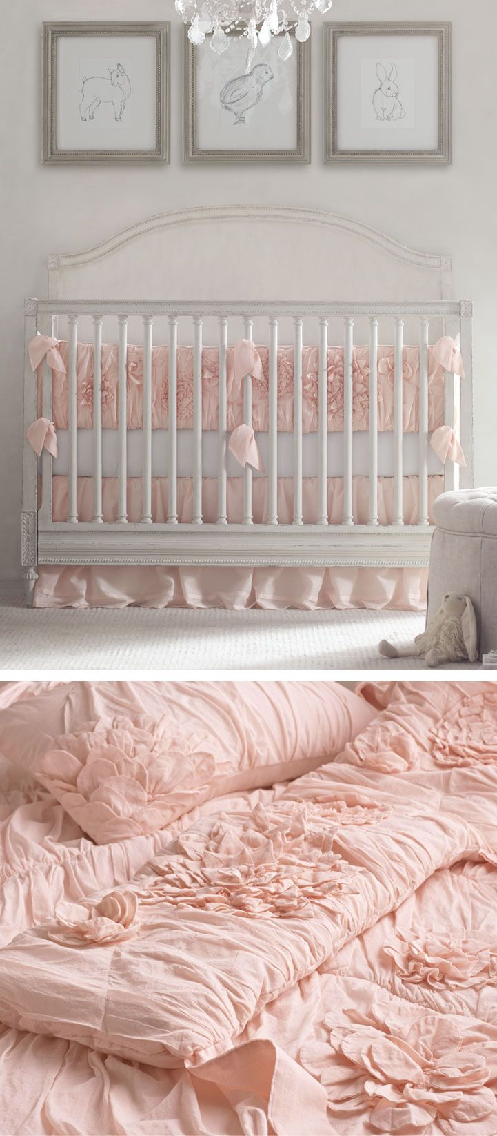 Love the bedding textural layers lend the nursery femininity and an irresistibly light and airy texture by choosing bedding embellished with quilting