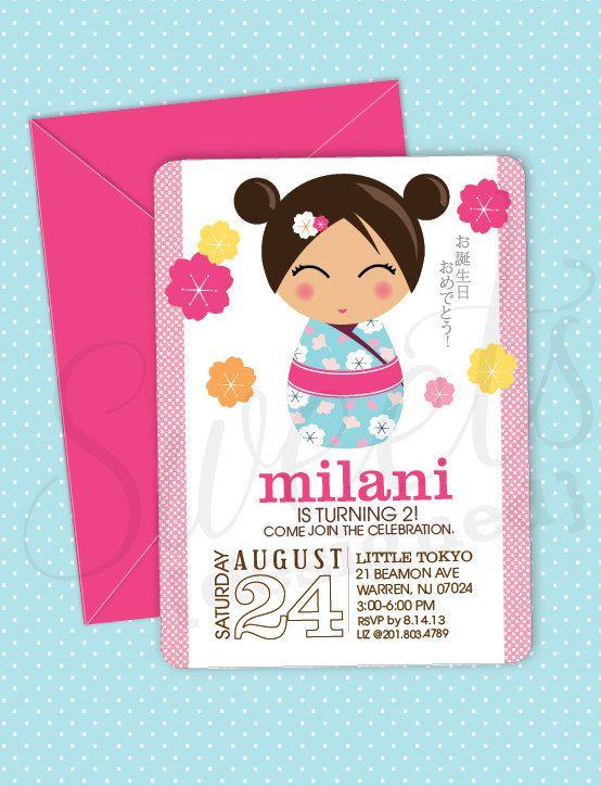 Invitación del cumpleaños del chica japonesa de por SWEETSDESIGNED