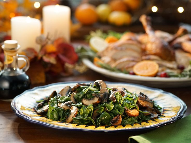 Sauteed Spinach and Mushrooms recipe from Valerie Bertinelli via Food Network