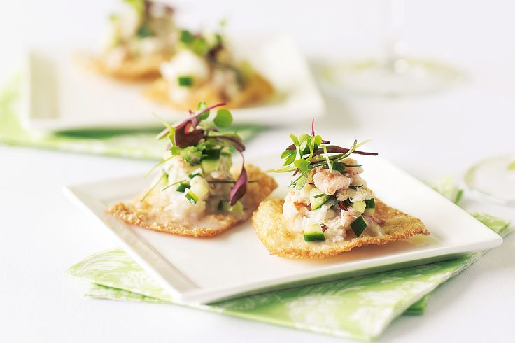 Light flavours and crisp, crunchy textures combine in cucumber and crab canapes.
