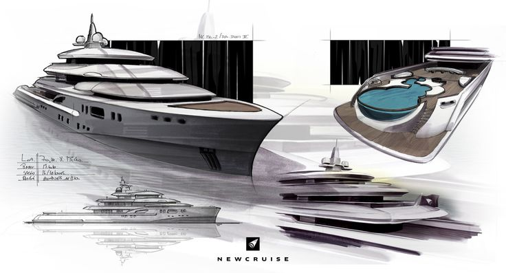 Exploring new ideas with concept sketches!  Concept by NEWCRUISE Yacht Projects & Design