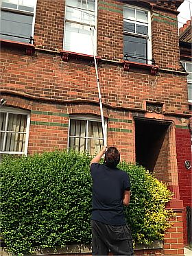 The best window cleaners! They use water-fed pole!