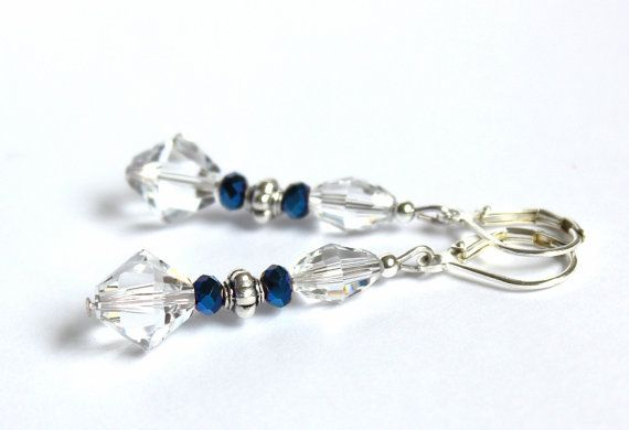 Silver plated earrings with clear Swarovski by YUKIJewellery, €13.50