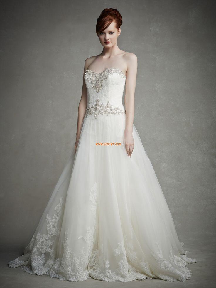 Áčkový střih Krajka Bez rukávů Luxusní svatební šaty