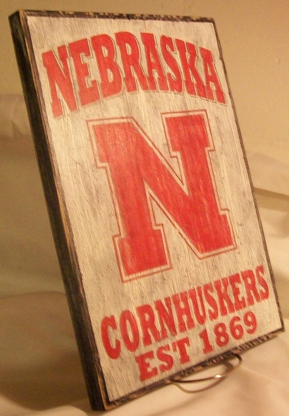 Nebraska Cornhuskers wall sign distressed by Bobsvintagesigns, $23.50