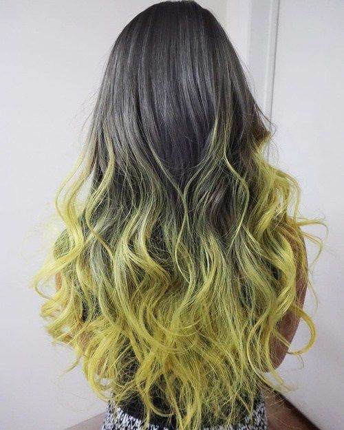 22 Ways to Style Pretty Two-Tone Hairstyles: #16. Two Toned Hairstyle for Long Hair – Grey and Yellow Tousled Curls