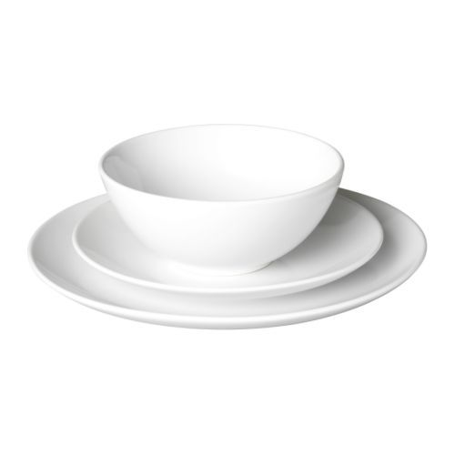 I think I want to switch to simple white dinnerware... only $24.99 for a service for 6 at Ikea... how can you beat that?!