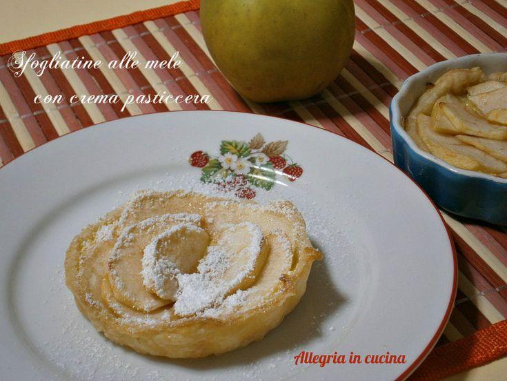 Deliziose sfogliatine alle mele con crema pasticcera, il tutto racchiuso da fragrante pasta sfoglia e completato con zucchero a velo. Ottime per la merenda.