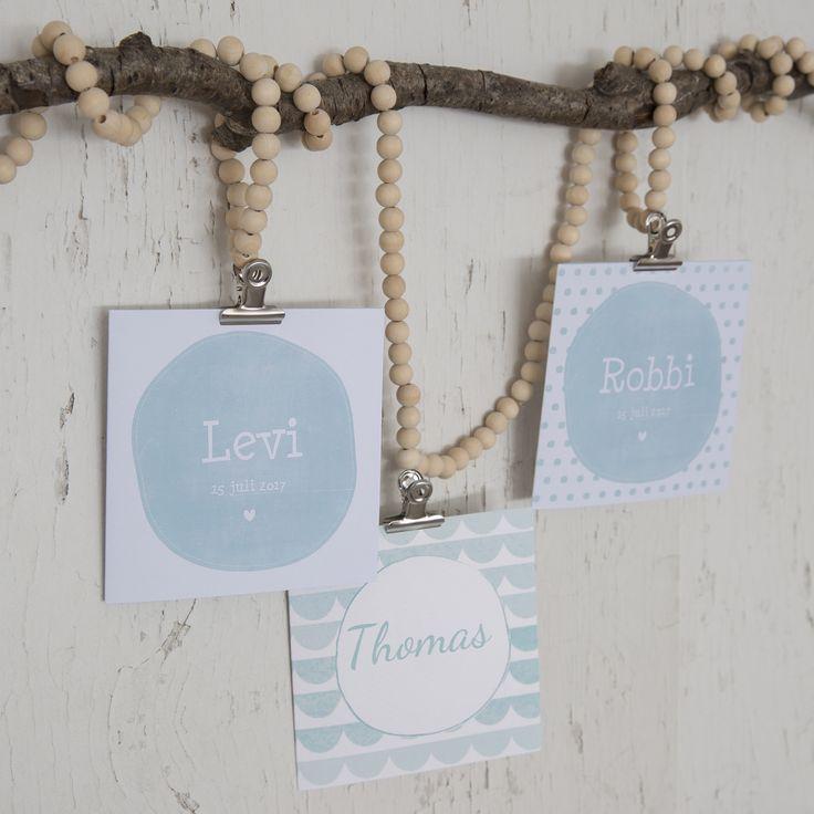 Little Dutch ● Birth announcement cards ● #littledutch #birthannouncement #card #beads #wood #mint