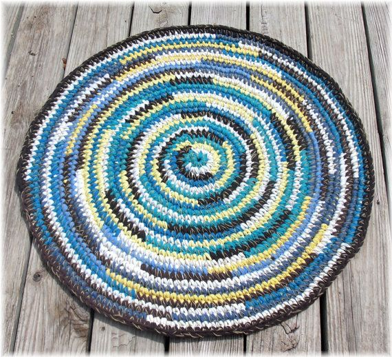 Round Rag Rug Multi Color 29 Inches By DebbieCrochets On