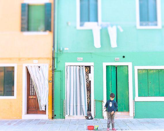 Burano Photograph, Burano Venice Photo, Burano Italy Photo, Island of Burano, Colourful Wall Art, Green Yellow Print, Fishing Photograph