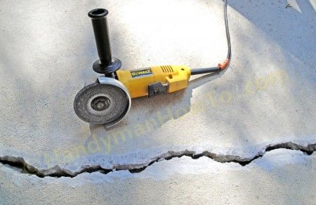 Concrete Crack Repair Chasing With An Angle Grinder And