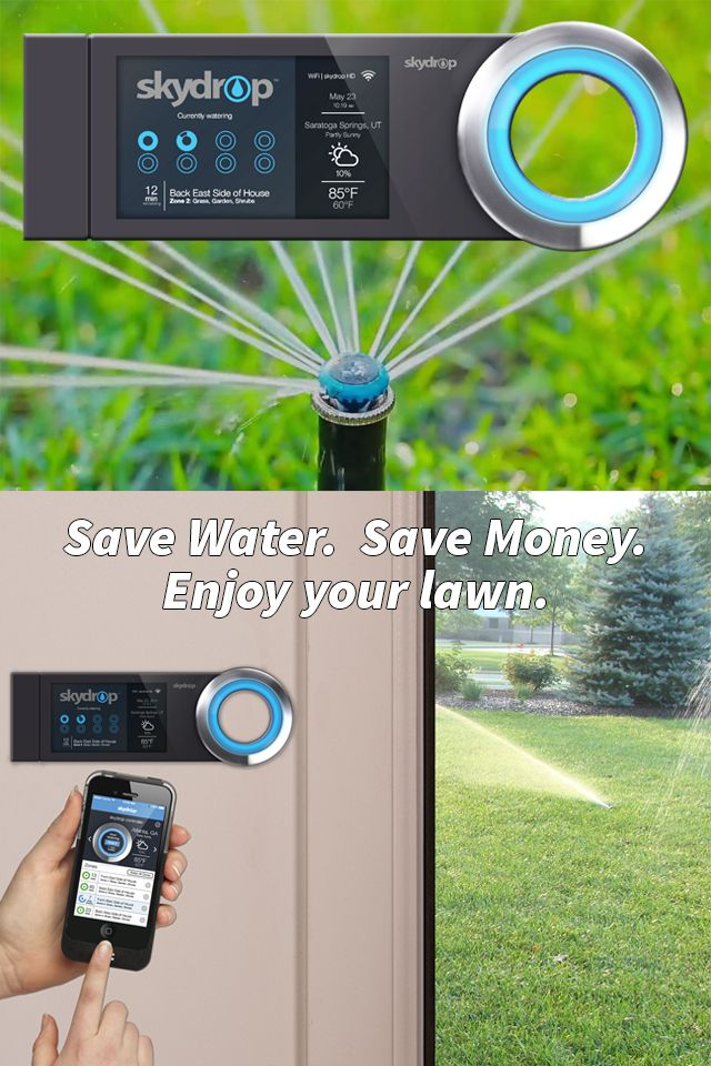 Conserve water and control your lawn's irrigation from your smartphone. The Skydrop irrigation controller allows you to remotely manage water consumption and watering schedules, inclusive of imposed water restrictions. The system intelligently monitors hyper-local weather and will adjust watering cycles for you.