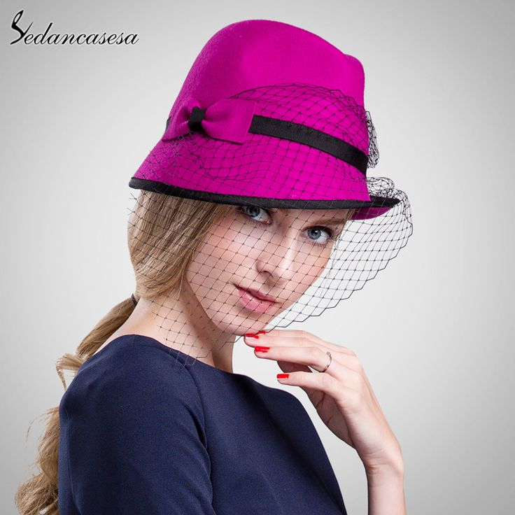 100% wool from Australian Cloche Sexy Mesh Hats Ladies Formal Hat Lady Cap Felt Hat In Women's Fedoras FW103031