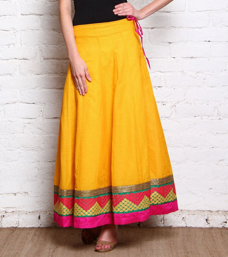 Yellow Embroidered Pure Cotton Skirt