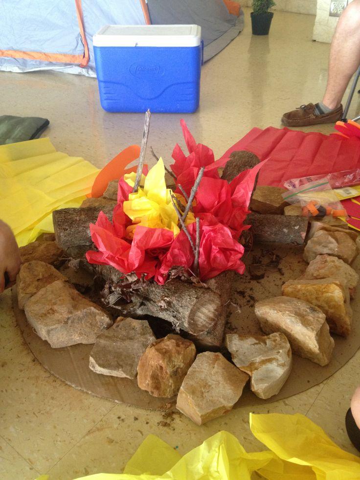 Camping Classroom Decorations ~ Backyard bible school flames campfire god s