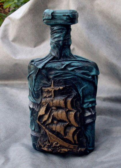 Подарки для мужчин, ручной работы. Ярмарка Мастеров - ручная работа. Купить бутылка для рому. Handmade. Подарочная бутылка, стекло