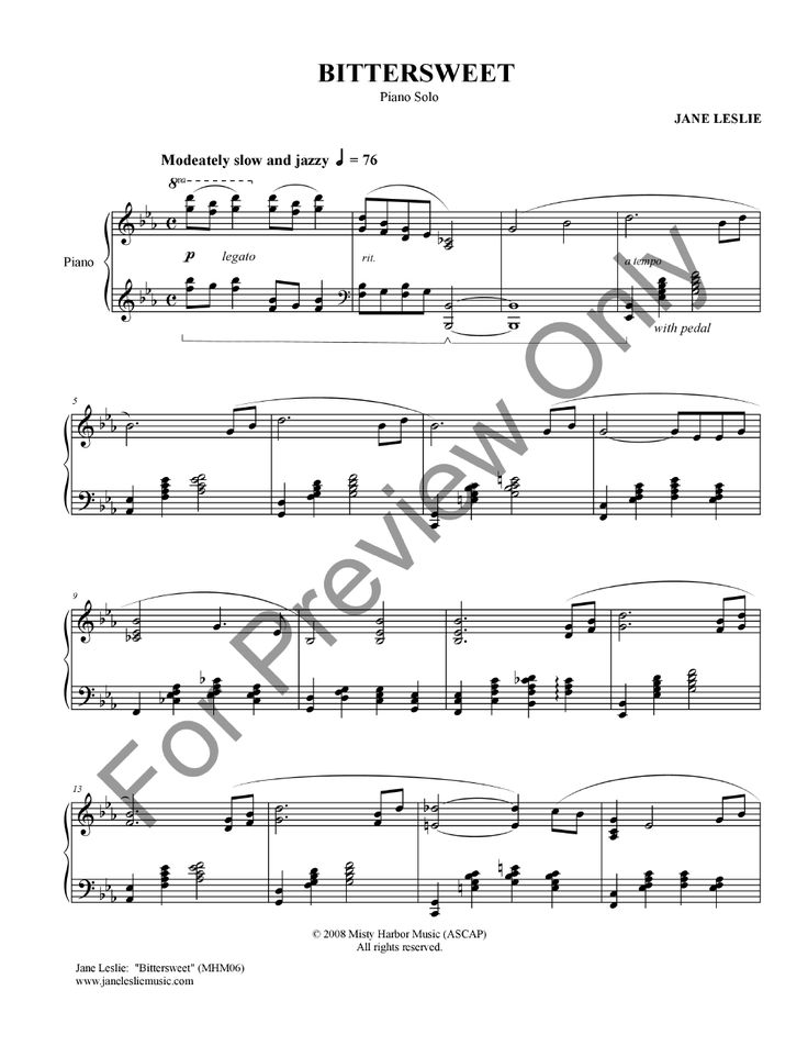 "Buy Sheet Music by Jane Leslie:   ""Bittersweet"" http://www.jwpepper.com/Bittersweet/10338386.item#.V5veH1fc_0c"