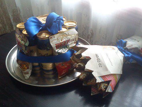 """Подарок мужу на 23 февраля. """"Тортик"""" и """"цветы"""""""