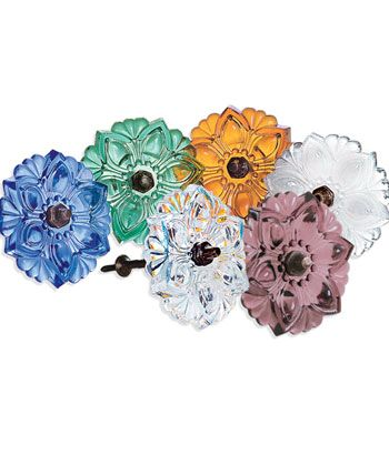"""Glass Holdback - Use as curtain holdbacks or as holders for a scarf over your window. 'Made by hand, this lovely floral glass holdback is available in Amber, Amethyst, Clear, Green, Light Blue or Opal. 4-1/2"""" diameter. ($13.50)"""