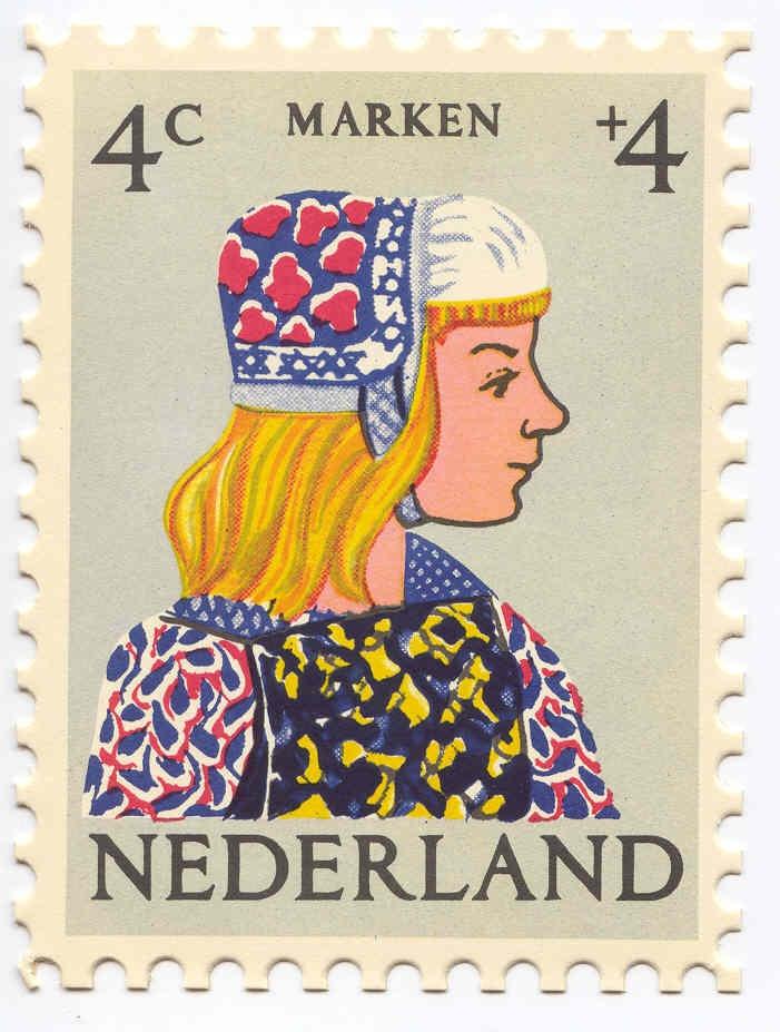 1960 Dutch stamp of a girl from Marken in regional dress.