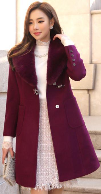 StyleOnme_Rabbit Fur Collar Jeweled Closure Peplum Coat #purple #fur #coat #wintertrend #koreanfashion #kstyle #kfashion #feminine #seoul