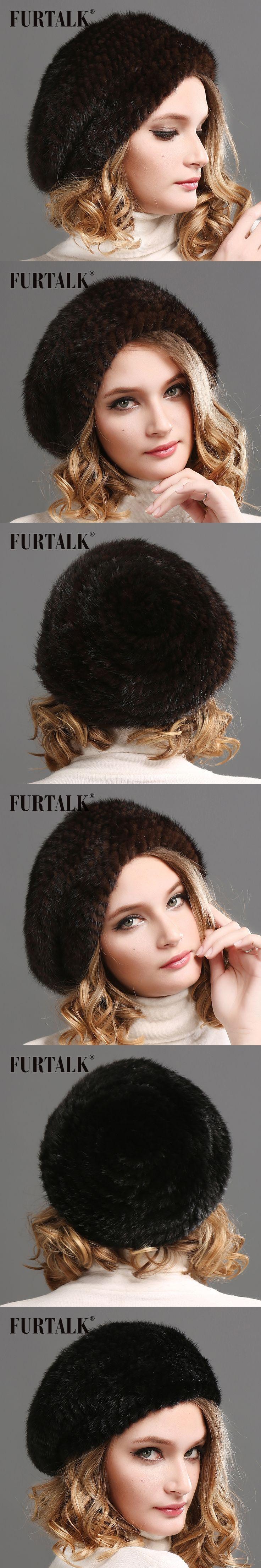 2015 FURTALK new fur beret natural mink fur bobble hat for women