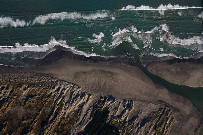 Manawatu's sea scape seen from above.
