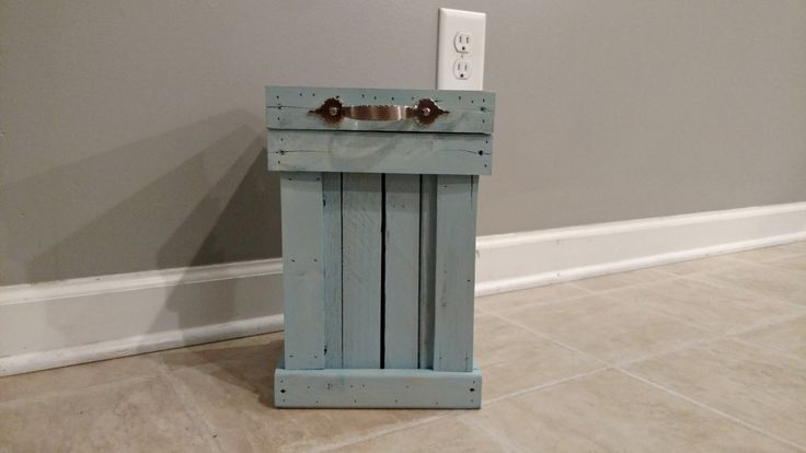 Rustic Blue Bathroom Trash Can, Small Wood Trash Can, Wood Canister, Rustic Bathroom Storage, Cottage Chic Bathroom Decor, French Country by OurTwistedCreations on Etsy