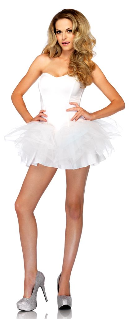 Our White Corset Tutu Dress features removable spaghetti straps, support boning, sweetheart bust and drop waist layered skirt with alternating tulle. Switch up the style by removing the straps to create a strapless design. This simple corset style tutu dress in white is ideal for creating your own costume such as a Swan Lake ballerina, Playboy bunny, Hello Kitty, nurse, angel, rave, fairy or white rabbit.
