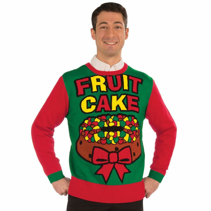 Ugly Christmas Party Sweaters: Men's Ugly Fruit Cake Xmas Sweater- Adult Humor Win The