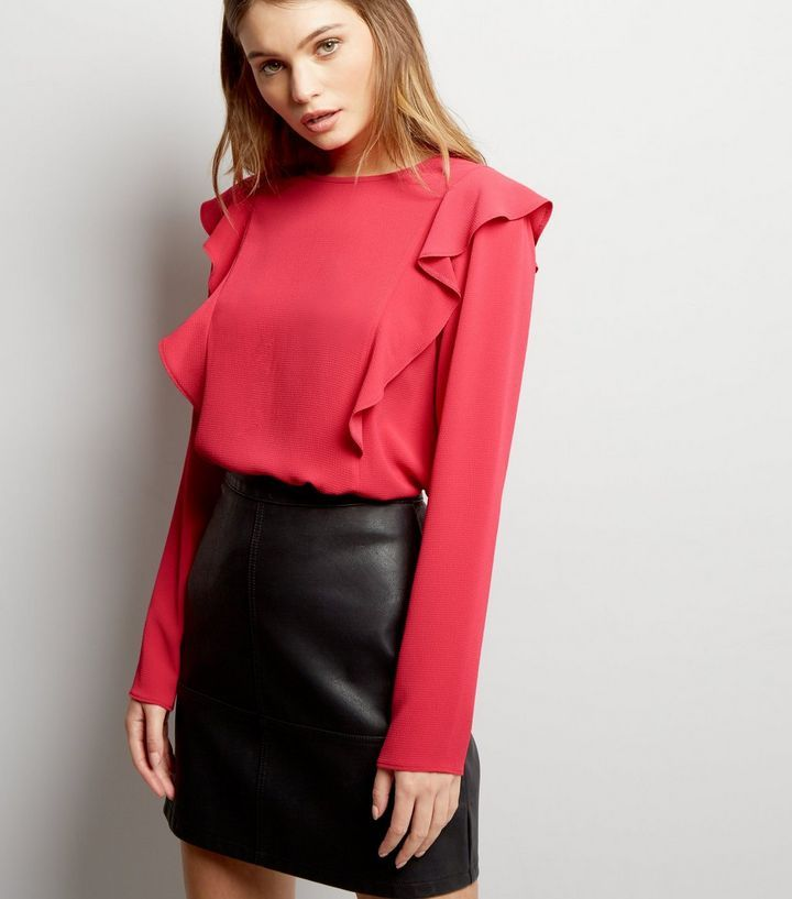 Chemise rose vif à manches longues et volants   New Look