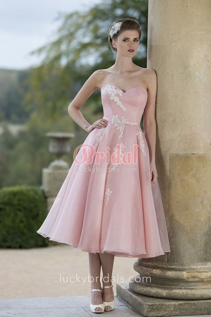 The 25 best organza bridesmaid dress ideas on pinterest pretty cute pink organza tea length a line bridesmaid dress accenting with subtle lace appliques ombrellifo Images
