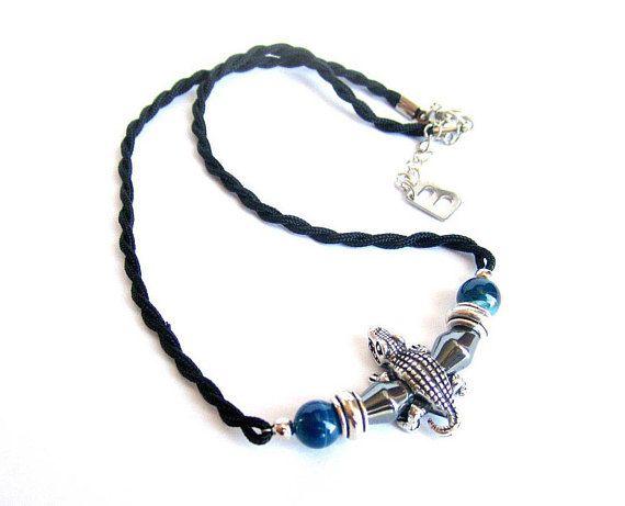 Mens crocodile necklace mens surfer necklace mens blue black