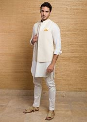 Picture of White Jamawar Waist Coat