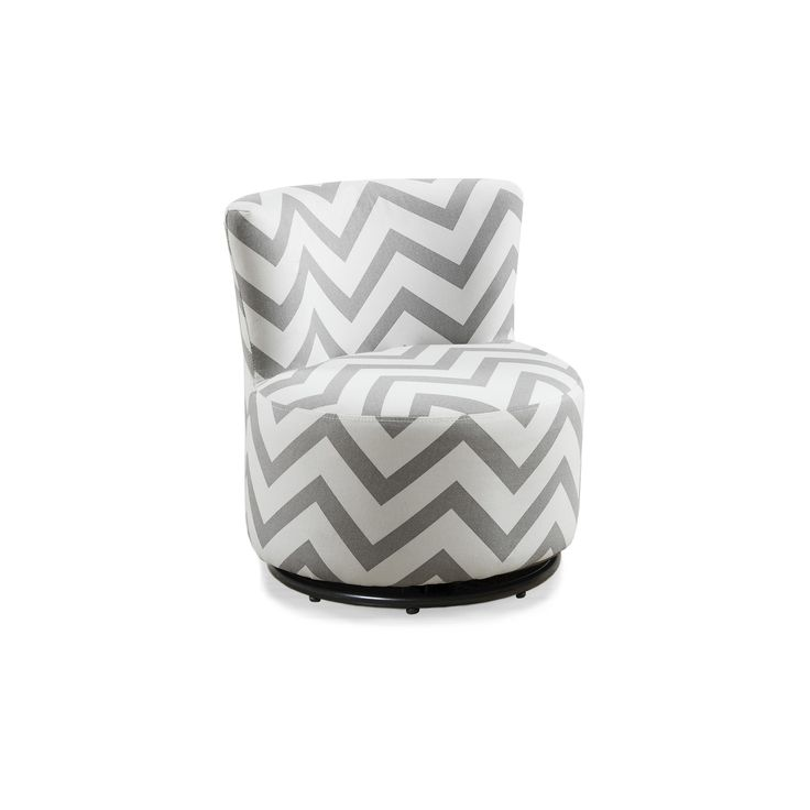 Kid's Swivel Chair - Gray Chevron Fabric - EveryRoom