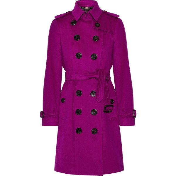 Burberry The Sandringham cashmere trench coat (755.485 HUF) via Polyvore featuring outerwear, coats, violet, cashmere trench coat, burberry, burberry coat, purple trench coat and purple coats