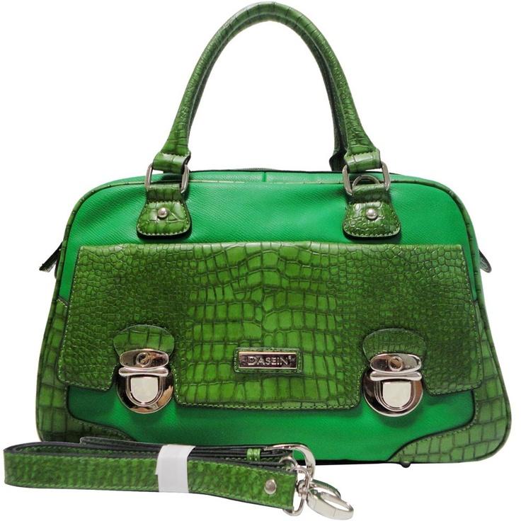 Dasein Croco Texture Satchel Bag w/ Front Buckled Pocket (Green)