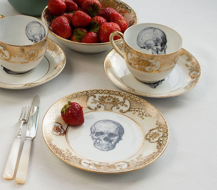 Upcycled Skull Design Gold Tea Set of Two, Melody Rose