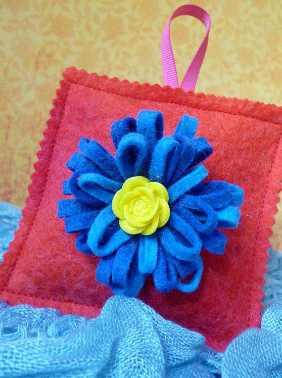 Red felt lavender bag with blue felt flower by ColourSplashbyCath, £8.50