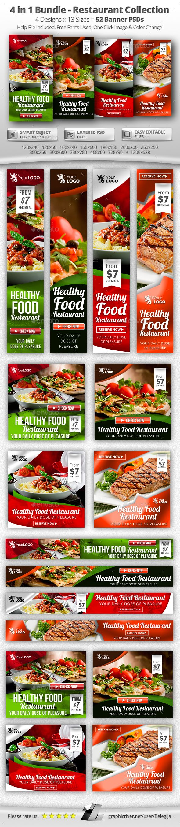 4 in 1 Bundle – 52 Food & Restaurant Web Banners - Banners & Ads Web Elements