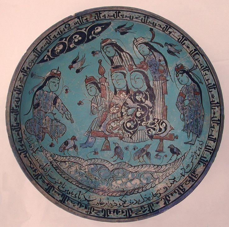 Bowl Maker: Abu Zayd al-Kashani Date: dated A.H. 582/ A.D. 1186 Geography: Iran Culture: Islamic Medium: Stonepaste; polychrome inglaze and overglaze painted on opaque monochrome glaze (mina'i)