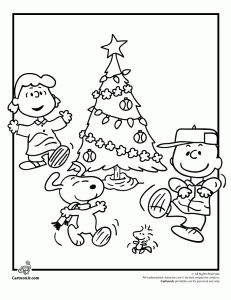 Lucy charlie brown snoopy dancing around christmas tree coloring page